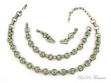 Vintage Pale Green Rhinestone Necklace, Bracelet