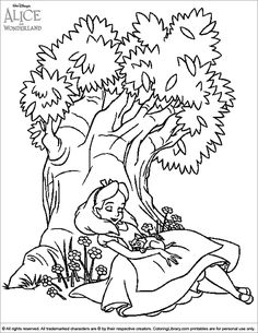 Alice in Wonderland coloring sheet Alice sitting under a tree