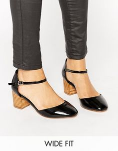 Vegan Faux Leather Block Heel Mary Janes