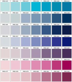 I Like The Top Row Of This Color Chart Pms  To Pms