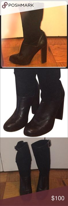 Rachel Zoe round toe leather and suede boots Rachel Zoe round toe learher and suede boots with silver buckle in good condition. Light scuffing on toe area and bottom exterior soles. Rachel Zoe Shoes Heeled Boots