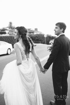 Bride in @watterswtoo Santina wedding dress.