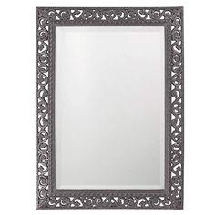 Howard Elliott Rectangle Bristol Glossy Charcoal Gray Mirror 36H x 26W x 1D - 6041CH