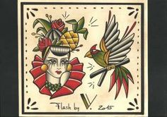 flash tattoo Carmensita pajaro tattoo flash -2015
