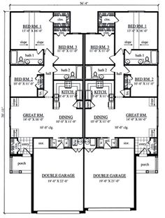 Multi-Family Plan 79240 - Country Style Multi-Family Plan with 2630 Sq Ft, 6 Bed, 4 Bath, 4 Car Garage Family House Plans, Best House Plans, Modern House Plans, Small House Plans, Modern Houses, Duplex Floor Plans, Garage Floor Plans, House Floor Plans, Townhouse Designs