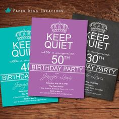 Adult Surprise 50th Birthday Party Invitation. Men / women 40th Birthday Invite. Keep calm and party on. Purple printable DIY invite AB45