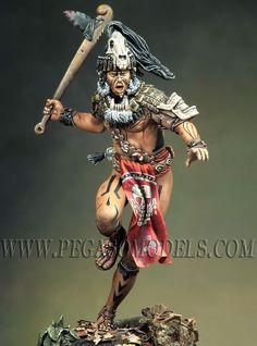 Pegaso Mayan Warrior Model - 38185 for sale online Zulu Warrior, Aztec Warrior, Aztec Statues, Aztecas Art, Ancient Aztecs, Aztec Culture, Armor Clothing, Native American Pictures, Inka