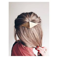 Folded diamond brass barrette