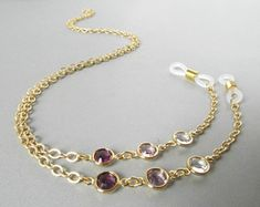 Purple Eyeglasses Chain - Gold Eyeglass Chain - Eye Glasses Chain - Reading Glasses Necklace - Chain for Glasses - Gold Glasses Holder Eyeglass Holder, Eyeglasses For Women, Crystal Beads, Clear Crystal, Eye Glasses, Just For You, Necklace Chain, Reading Glasses, Etsy