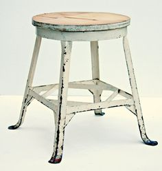 rolled steel Industrial Machine Age shop stool by EccentricDecor