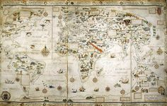 pierre desceliers' world map, 1550 (british library).