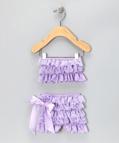 Take a look at this Lavender Lace Ruffle Top & Bottoms - Infant & Toddler by Miss Fancy Pants on #zulily today!