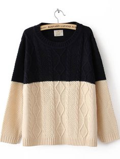 Navy Beige Long Sleeve Sweater