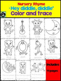 Nursery+rhyme+'Hey+diddle,+diddle'+color+and+trace+from+Hush-a-bye+on+TeachersNotebook.com+-++(14+pages)++-+Nursery+rhyme+'Hey+diddle,+diddle'+color+and+trace