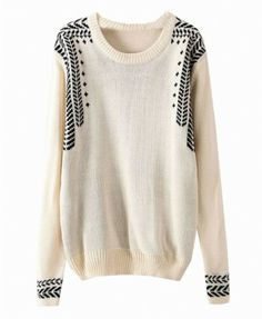 cream and pattern sweater