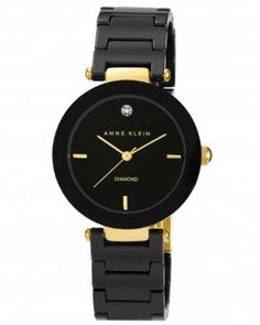 Reloj Anne Klein de cerámica Negro con detalles de diamantes AK/1018BKBK  | $360,000.00