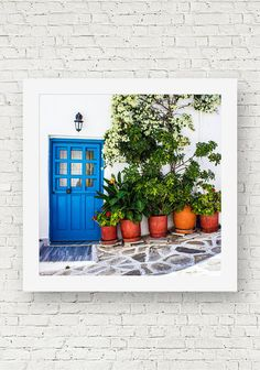 A square photograph of the blue door of a Greek home in Naoussa, Paros, Greece, with a row of flower pots and plants along the cobblestone at the entrance.