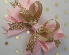 Pink and Gold bows, Princess party, photo prop, headband, Glitter bows Royal First Sparkle Birthday twinkle star, Tea Party, Half Smash cake