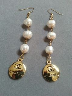 Chanel Charm Earrings Freshwater Pearls ArmCandy DesignsbyZ contact zumphlette@aol.com