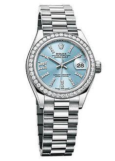 Rolex Lady Datejust Ice Blue Diamond Dial Platinum Automatic Watch