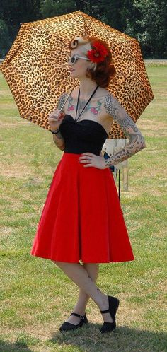 cherry dollface cute outfit! and leopard umbrella :3