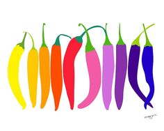 Chilly Peppers Art. So pretty!