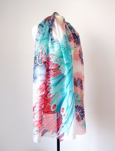 Silk scarf 'Angel of Fire and Ice' by Luiza Malinowska #minkulu Art Novueau style, inspired by Alphonse Mucha 'Feather'. Big scarf, works as a pareo. Blue and red scarf