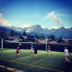 Beach Volleyball at Aiglon campus after the exams College Campus, Swiss Alps, Beach Volleyball, Travel Abroad, Scenery, Mountains, Education, Instagram Posts, Fun