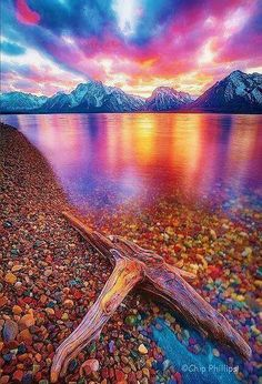 Jackson Lake, Wyoming. (I've read accounts from people who survived near death experiences, who said that heaven's atmosphere is multi-colored like this. Wow! Hope so!