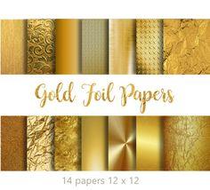 Elegant GOLD FOIL PAPERS   14 Gold Digital by DigitalAlice on Etsy