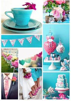 #wedding pink & turquoise themed