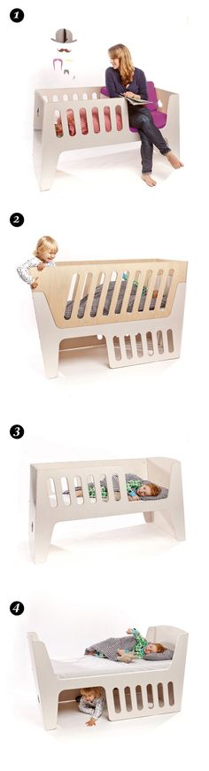 http://vimeo.com/40746347 Rocky bed totally rocks. In many senses than one. This convertible children's bed from studio jäll & tofta is a product that grows with the child. At the beginning, it...