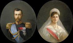 Portraits of Nikolai II and Alexandra Fedorovna by Alexander Vladimirovich Makovsky - 1903
