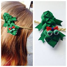 Alli the gator bow! Available on Little Honey Darlin Face boutique on Facebook. $5.00 on a clip or $10 includes halo headband.   https://www.facebook.com/littlehoneydarlinfaceboutique?ref=bookmarks