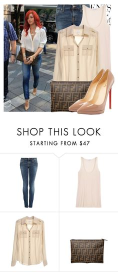 """""""Celebrities Style: Rihanna"""" by majksister ❤ liked on Polyvore featuring Vera Wang, Nudie Jeans Co., Forrest & Bob, Reiss, Fendi, Christian Louboutin, riri and rihanna"""
