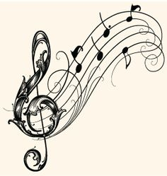 Love the musical staff like this...but with birds as the notes and treble clef more basic design but with heart incorporated