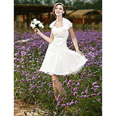 A-line Halter Short/ Mini Taffeta Chiffon Lace Wedding Dress – US$ 129.99