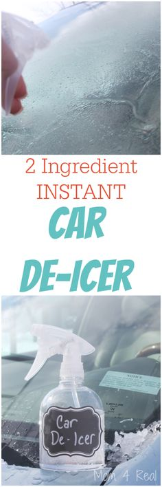 2 Ingredient Homemade Car De-Icer Spray - 1/3 water to 2/3 rubbing alcohol (91)-in spray bottle