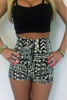 high waist tribal print shorts with black crop top
