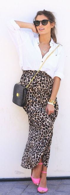 Leopard Maxi Skirt and Pink Shoes - Seams For a De...