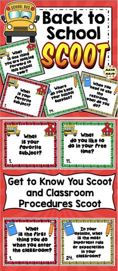 Back to School Scoot - Get your students up and moving with this engaging back to school activity! $