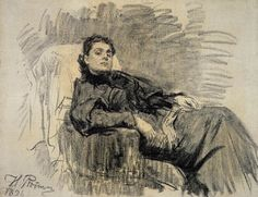 Portrait of actress Eleonora Duse. Charcoal on canvas/ State Tretyakov Gallery, Moscow Fine Art Drawing, Life Drawing, Painting & Drawing, Ilya Repin, Figure Sketching, Figure Drawing, Art Sketches, Art Drawings, Florence Academy Of Art