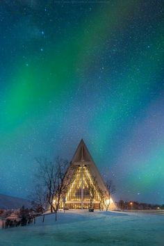 Aurora over Arctic Cathedral, Tromso, Norway
