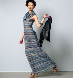 Maxi-dress pattern designed for lightweight knits; goes up to size 24W. From McCall's. M6612, Misses'/Women's Dresses