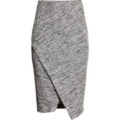 H&M Wraparound skirt (€20) ❤ liked on Polyvore featuring skirts, bottoms, grey marl, wrap skirt, h&m, wrap around skirt, grey skirt and grey pencil skirt