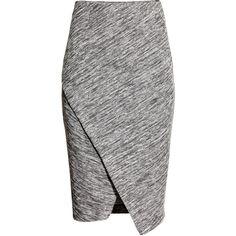 H&M Wraparound skirt (58 BRL) ❤ liked on Polyvore featuring skirts, bottoms, faldas, saias, grey marl, gray skirt, knee length pencil skirt, elastic pencil skirt, gray pencil skirt and wrap pencil skirt
