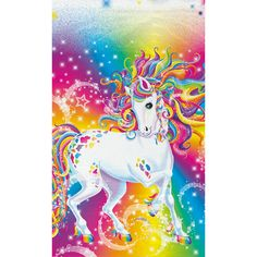 Rainbow Majesty Plastic Tablecover - Fast Ship - 54 x 84 inches