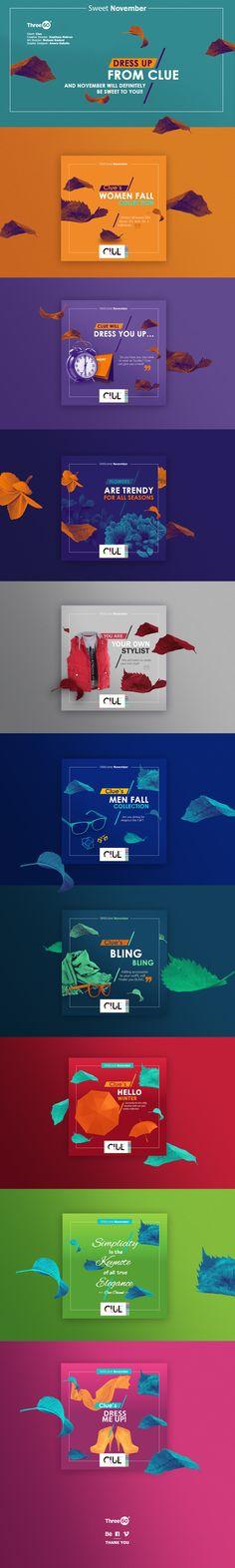Clue Sweet November on Behance Web Design, Game Design, Book Design, Layout Design, Social Media Banner, Social Media Template, Social Media Design, Social Media Graphics, Graphic Design Posters