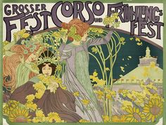 Poster design by Josepf Maria Auchentaller for a spring festival in Viennna, ca. 1899. Description: Auchentaller was a painter, jewelry and poster designer, illustrator and master arts and craftsman who played a prominent role in the Vienna Secession between 1897 and 1902. This rare poster is typically seen without text. The building depicted is the Rotunda which was built for the 1873 Vienna World's Fair. Source