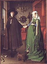 Jan Van Eyck's Arnolfini Wedding Portait  one of my favorites painting, the details are awesome, look at the mirror for instance with the miniature paintings around the frame that have scenes from the life of Christ..a truly awesome piece of work.